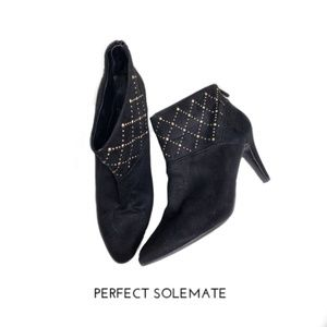 Impo Scape Black Closed Toe Gold Studded Booties
